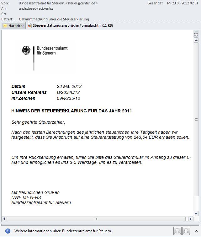 phishing-mail steuererklärung rückerstattung
