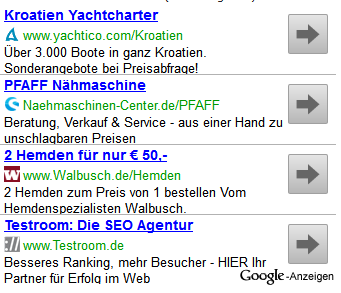 New AdSense text ad with favicon integration